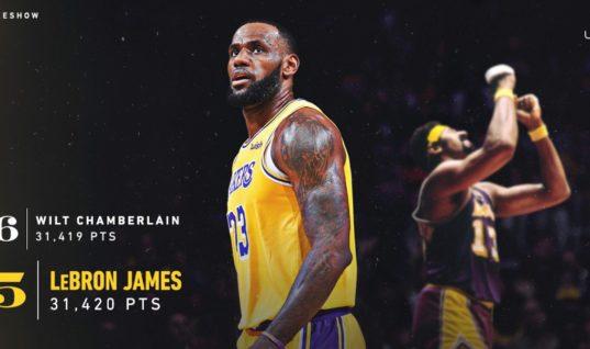 Джеймс горд, что обошёл Чемберлена по числу очков в НБА