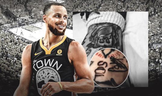 Карри вытатуировал свой автограф тату-мастеру