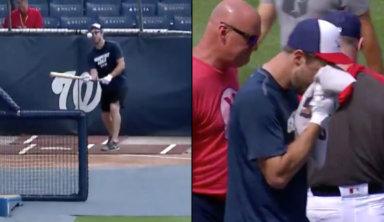 Бейсболист сломал себе нос мячом во время тренировки