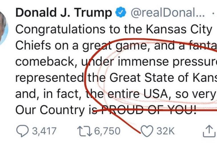 Трамп ошибся при поздравлении победителей Супербоула